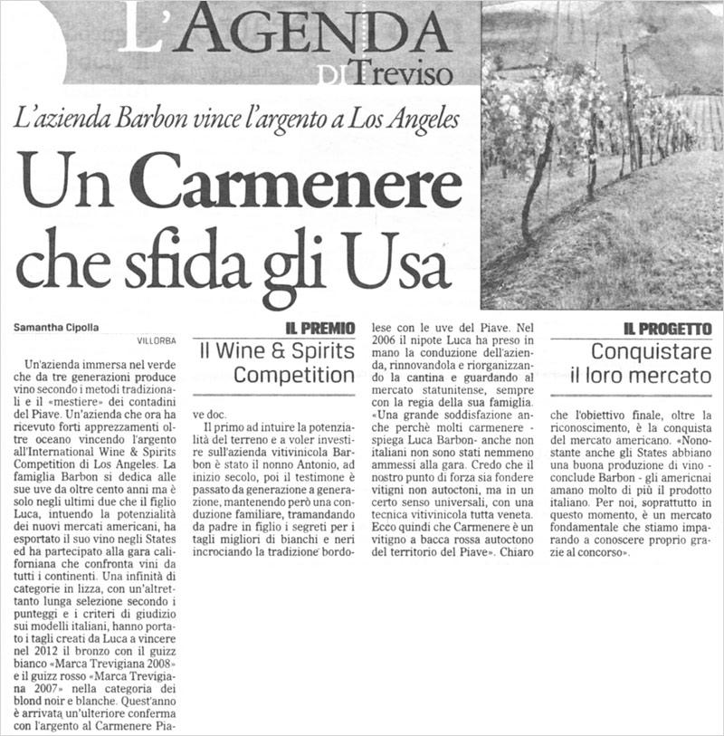 Carmenere Tenuta Barbon vince a Los Angeles